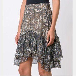 Chlo'e Tile Print Silk Tiered Ruffle Boho Skirt